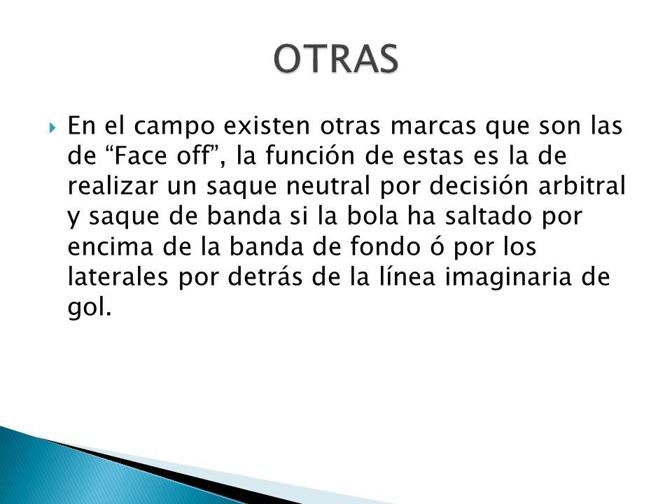 En el campo existen otras marcas que son las de Face off, la función de estas es la de realizar un saque neutral por decisión arbitral y saque de band