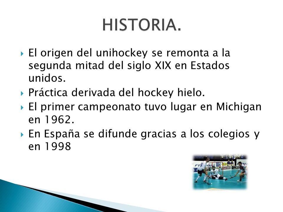 El origen del unihockey se remonta a la segunda mitad del siglo XIX en Estados unidos. Práctica derivada del hockey hielo. El primer campeonato tuvo l