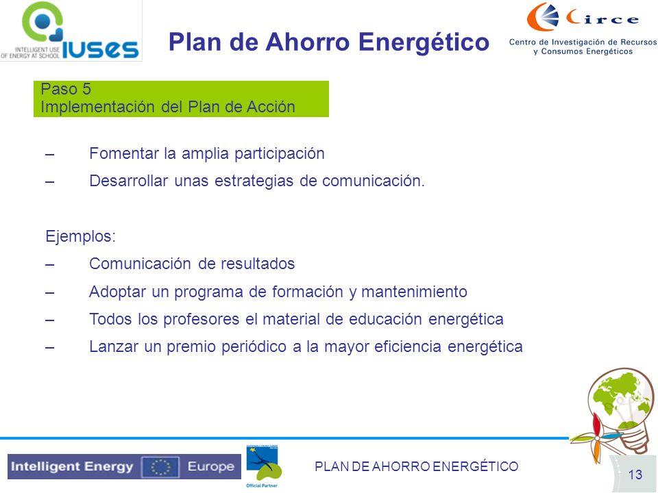 PLAN DE AHORRO ENERGÉTICO 13 Plan de Ahorro Energético Paso 5 Implementación del Plan de Acción –Fomentar la amplia participación –Desarrollar unas es