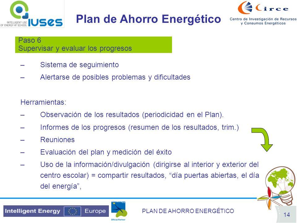 PLAN DE AHORRO ENERGÉTICO 14 Plan de Ahorro Energético Paso 6 Supervisar y evaluar los progresos –Sistema de seguimiento –Alertarse de posibles proble