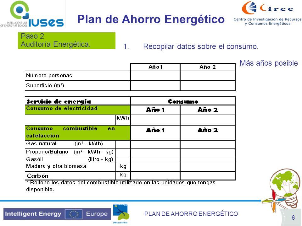 PLAN DE AHORRO ENERGÉTICO 6 Paso 2 Auditoría Energética. Plan de Ahorro Energético 1.Recopilar datos sobre el consumo. Más años posible