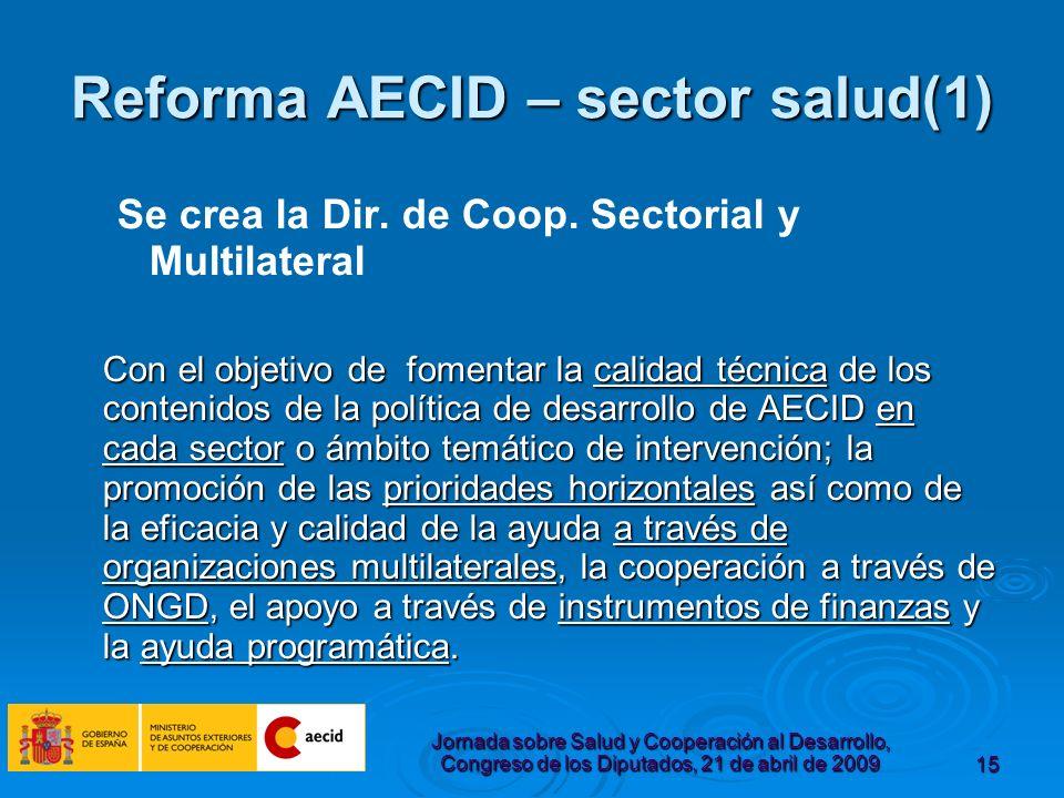 Jornada sobre Salud y Cooperación al Desarrollo, Congreso de los Diputados, 21 de abril de 200915 Reforma AECID – sector salud(1) Se crea la Dir.