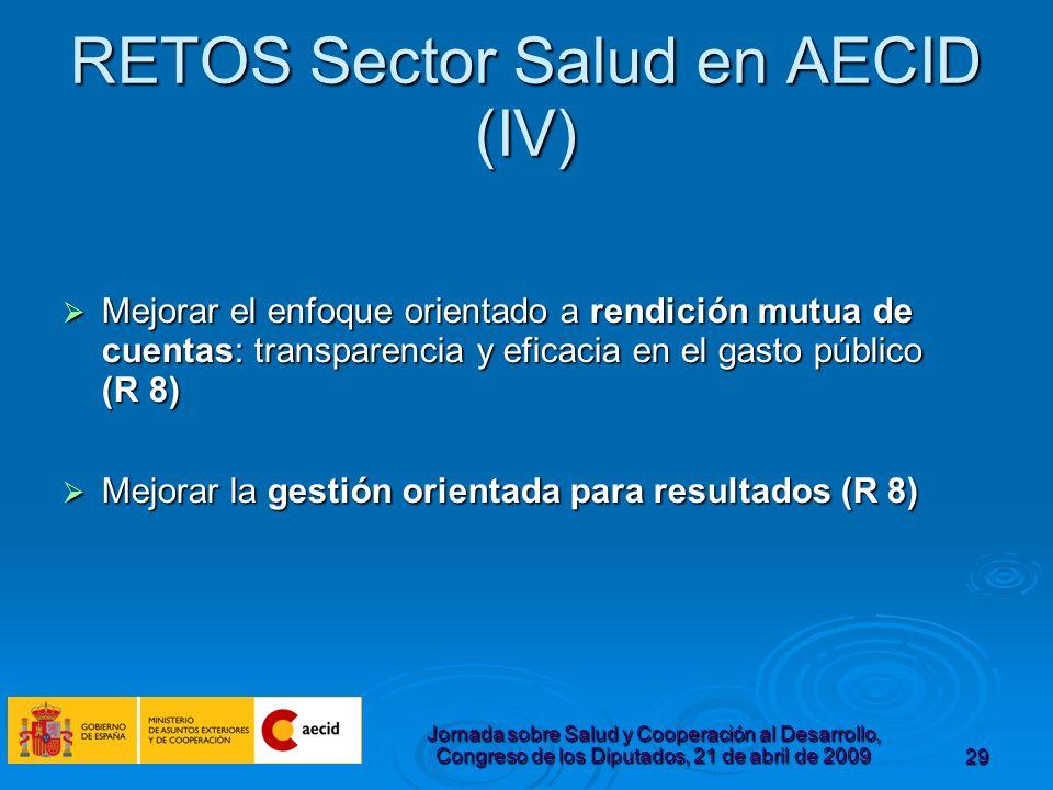 Jornada sobre Salud y Cooperación al Desarrollo, Congreso de los Diputados, 21 de abril de 200929 RETOS Sector Salud en AECID (IV) Mejorar el enfoque orientado a rendición mutua de cuentas: transparencia y eficacia en el gasto público (R 8) Mejorar el enfoque orientado a rendición mutua de cuentas: transparencia y eficacia en el gasto público (R 8) Mejorar la gestión orientada para resultados (R 8) Mejorar la gestión orientada para resultados (R 8)