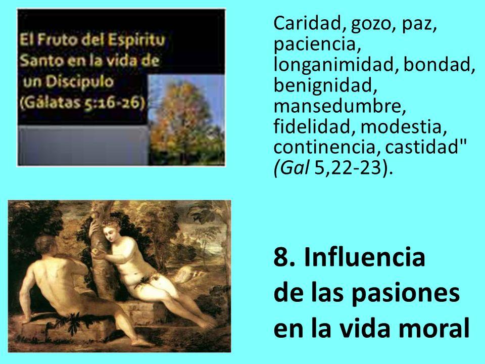 Caridad, gozo, paz, paciencia, longanimidad, bondad, benignidad, mansedumbre, fidelidad, modestia, continencia, castidad