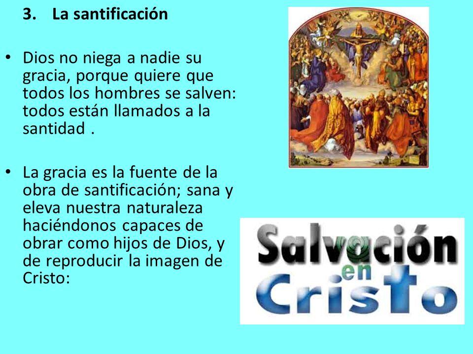 3.La santificación Dios no niega a nadie su gracia, porque quiere que todos los hombres se salven: todos están llamados a la santidad. La gracia es la