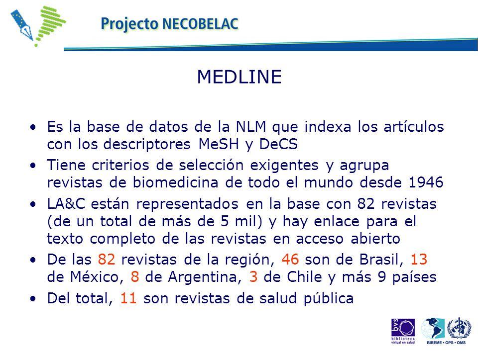 MEDLINE Es la base de datos de la NLM que indexa los artículos con los descriptores MeSH y DeCS Tiene criterios de selección exigentes y agrupa revistas de biomedicina de todo el mundo desde 1946 LA&C están representados en la base con 82 revistas (de un total de más de 5 mil) y hay enlace para el texto completo de las revistas en acceso abierto De las 82 revistas de la región, 46 son de Brasil, 13 de México, 8 de Argentina, 3 de Chile y más 9 países Del total, 11 son revistas de salud pública