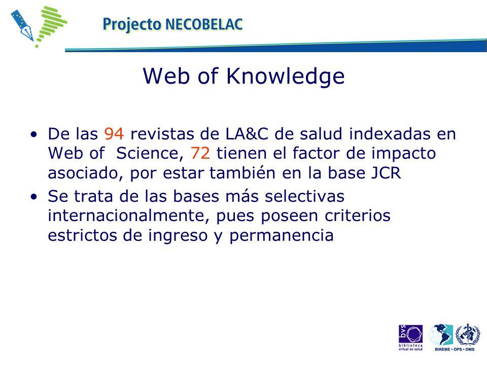 Web of Knowledge De las 94 revistas de LA&C de salud indexadas en Web of Science, 72 tienen el factor de impacto asociado, por estar también en la base JCR Se trata de las bases más selectivas internacionalmente, pues poseen criterios estrictos de ingreso y permanencia