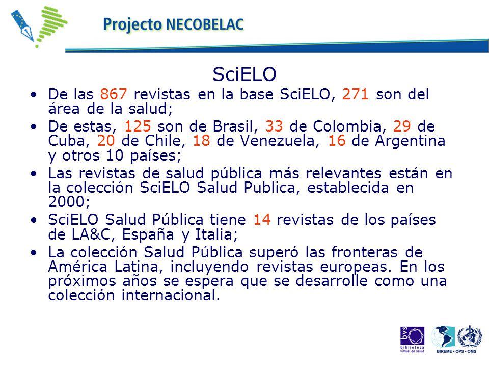 SciELO De las 867 revistas en la base SciELO, 271 son del área de la salud; De estas, 125 son de Brasil, 33 de Colombia, 29 de Cuba, 20 de Chile, 18 de Venezuela, 16 de Argentina y otros 10 países; Las revistas de salud pública más relevantes están en la colección SciELO Salud Publica, establecida en 2000; SciELO Salud Pública tiene 14 revistas de los países de LA&C, España y Italia; La colección Salud Pública superó las fronteras de América Latina, incluyendo revistas europeas.