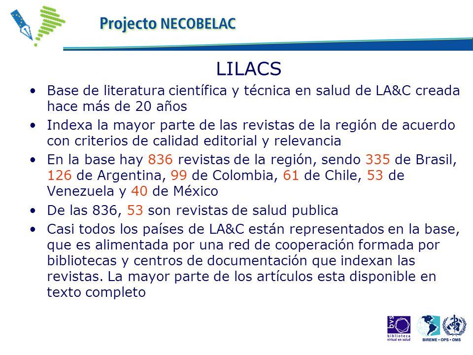 LILACS Base de literatura científica y técnica en salud de LA&C creada hace más de 20 años Indexa la mayor parte de las revistas de la región de acuerdo con criterios de calidad editorial y relevancia En la base hay 836 revistas de la región, sendo 335 de Brasil, 126 de Argentina, 99 de Colombia, 61 de Chile, 53 de Venezuela y 40 de México De las 836, 53 son revistas de salud publica Casi todos los países de LA&C están representados en la base, que es alimentada por una red de cooperación formada por bibliotecas y centros de documentación que indexan las revistas.