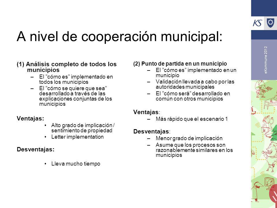 eKommune 2012 A nivel de cooperación municipal: (1) Análisis completo de todos los municipios –El cómo es implementado en todos los municipios –El cóm