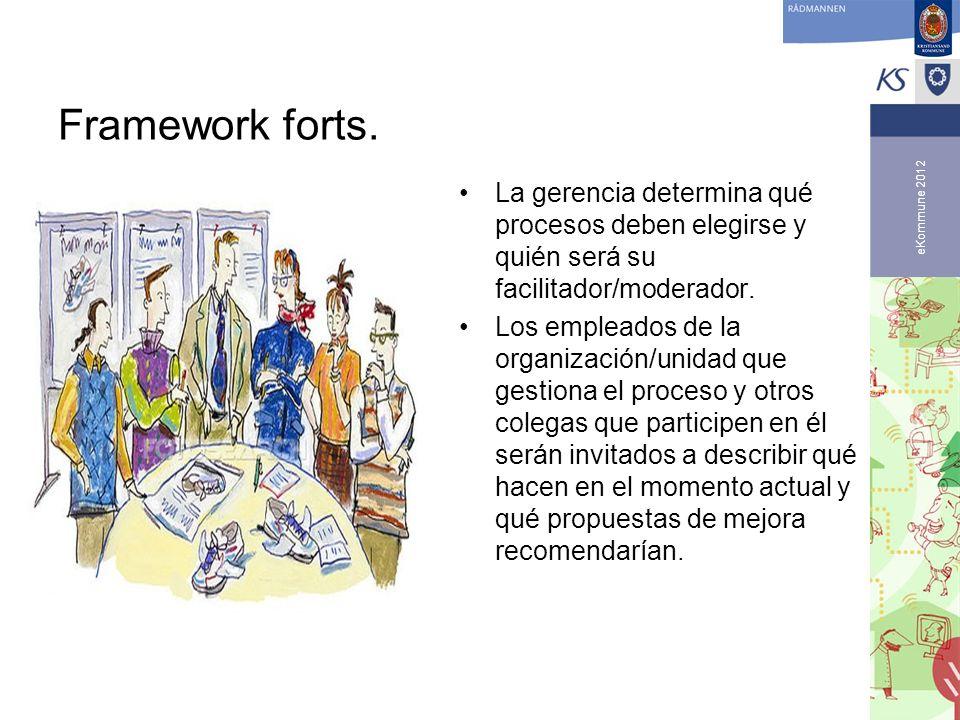 eKommune 2012 Framework forts. La gerencia determina qué procesos deben elegirse y quién será su facilitador/moderador. Los empleados de la organizaci