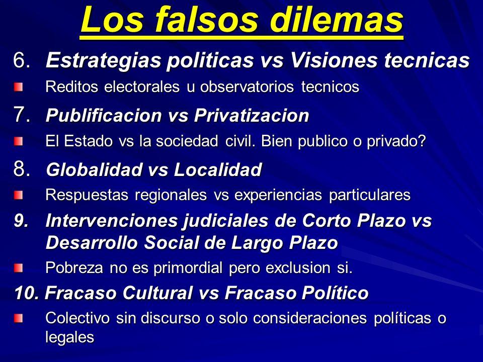 Los falsos dilemas 6.Estrategias politicas vs Visiones tecnicas Reditos electorales u observatorios tecnicos 7.