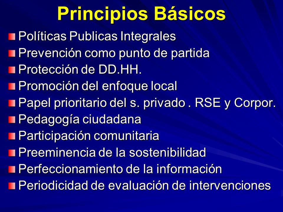 Principios Básicos Políticas Publicas Integrales Prevención como punto de partida Protección de DD.HH. Promoción del enfoque local Papel prioritario d
