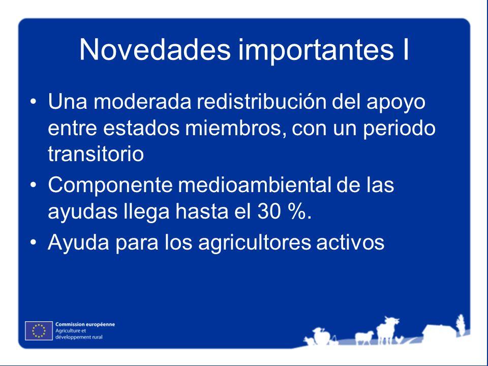 Novedades importantes I Una moderada redistribución del apoyo entre estados miembros, con un periodo transitorio Componente medioambiental de las ayudas llega hasta el 30 %.