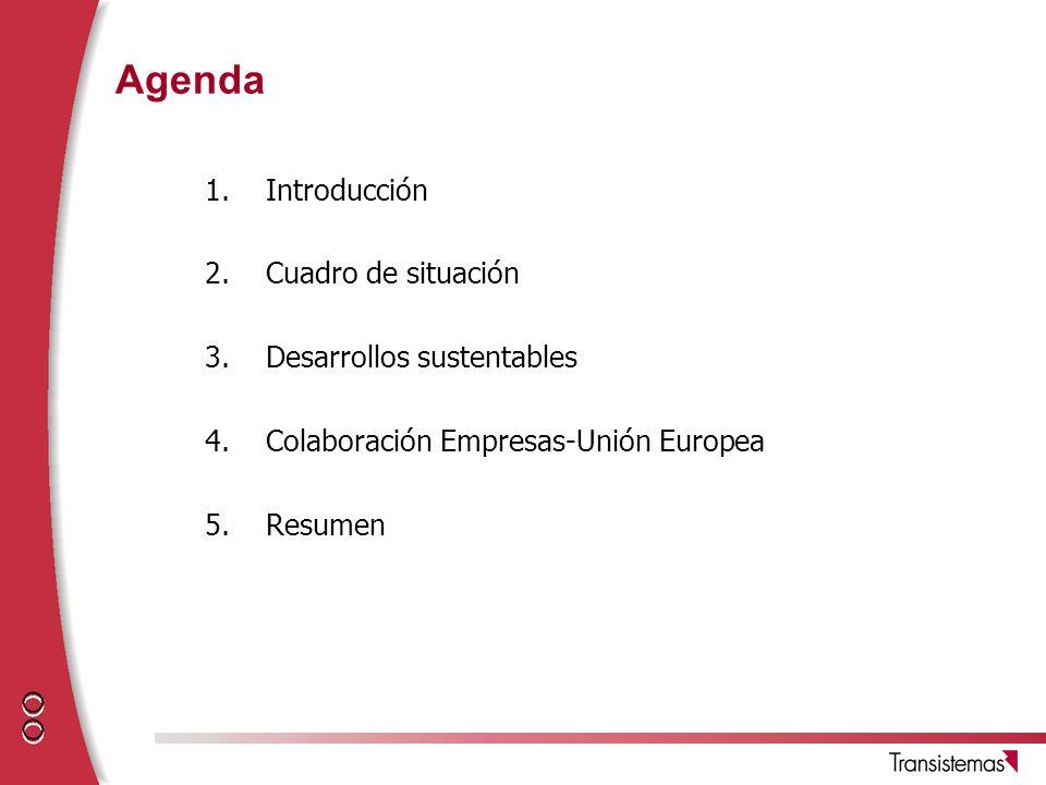 Agenda 1.Introducción 2.Cuadro de situación 3.Desarrollos sustentables 4.Colaboración Empresas-Unión Europea 5.Resumen