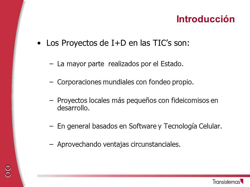 Introducción Los Proyectos de I+D en las TICs son: –La mayor parte realizados por el Estado. –Corporaciones mundiales con fondeo propio. –Proyectos lo