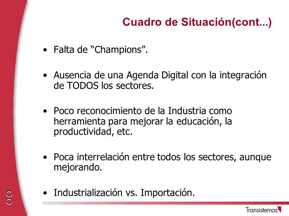 Cuadro de Situación(cont...) Falta de Champions. Ausencia de una Agenda Digital con la integración de TODOS los sectores. Poco reconocimiento de la In