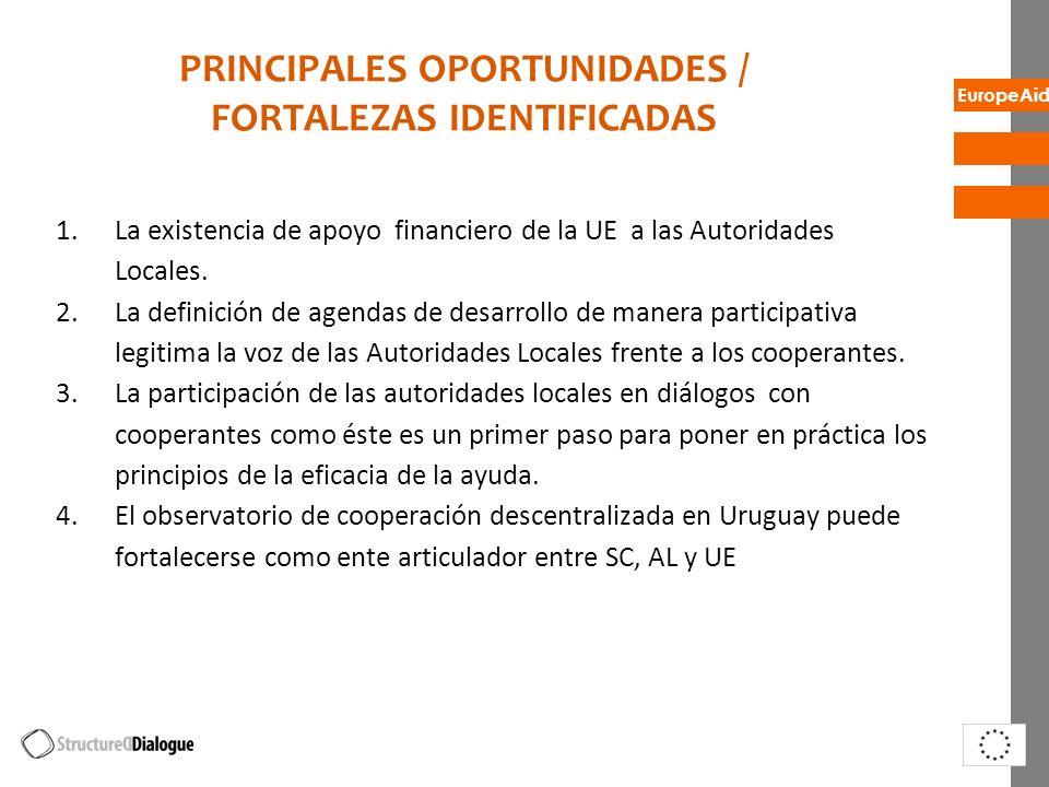 EuropeAid PRINCIPALES OPORTUNIDADES / FORTALEZAS IDENTIFICADAS 1.La existencia de apoyo financiero de la UE a las Autoridades Locales. 2.La definición