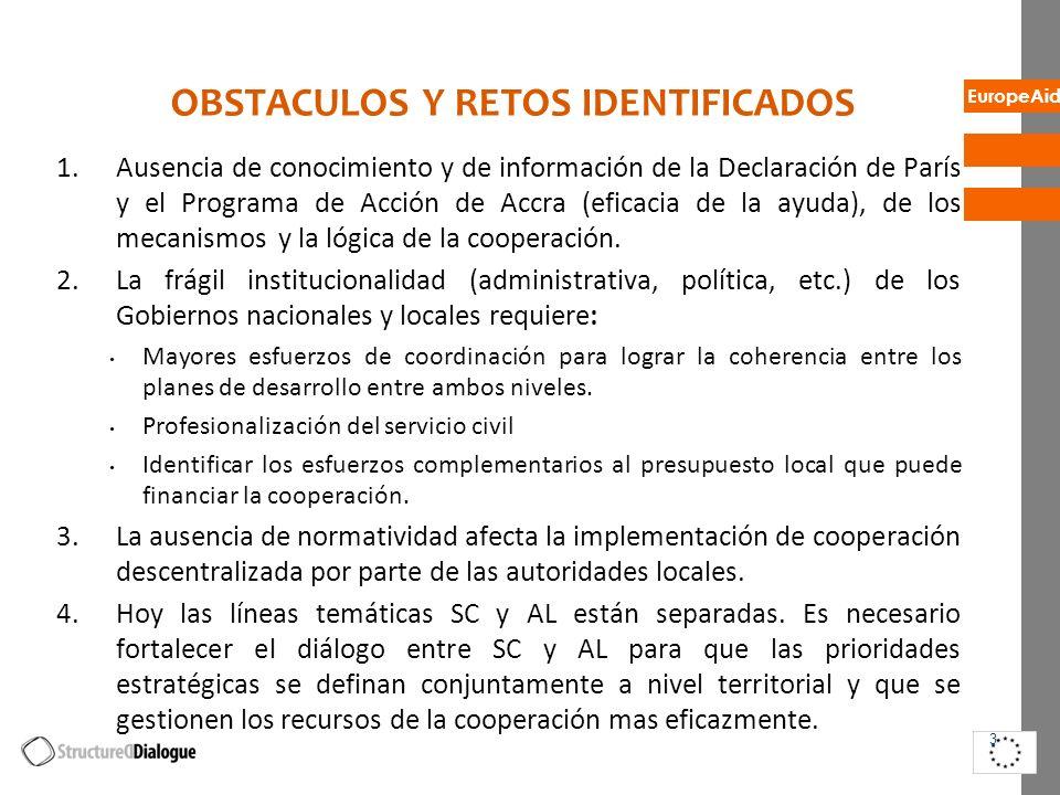 EuropeAid BUENAS PRACTICAS /EJEMPLOS EXITOSOS 1.