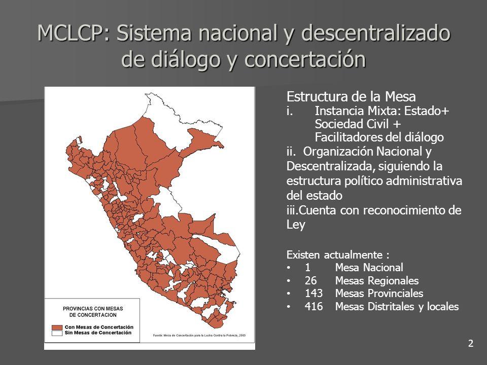 MCLCP: Sistema nacional y descentralizado de diálogo y concertación Estructura de la Mesa i.Instancia Mixta: Estado+ Sociedad Civil + Facilitadores de