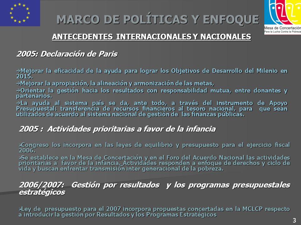 MARCO DE POLÍTICAS Y ENFOQUE ANTECEDENTES INTERNACIONALES Y NACIONALES 2005: Declaración de Paris Mejorar la eficacidad de la ayuda para lograr los Ob