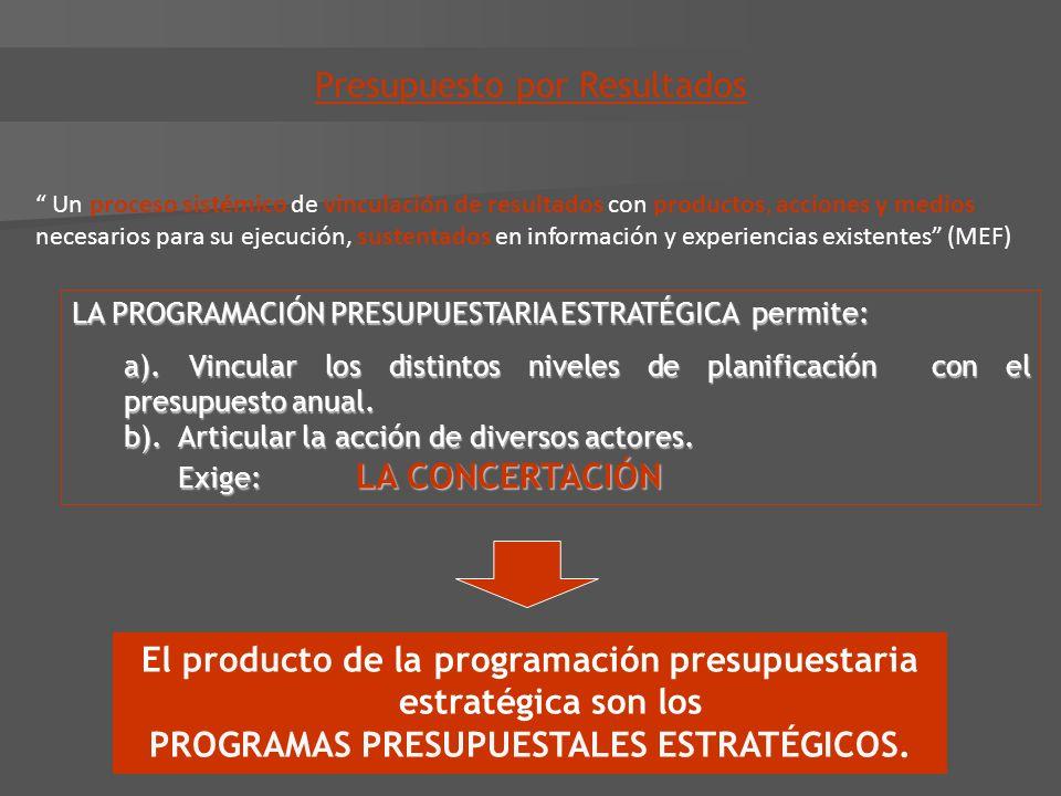 LA PROGRAMACIÓN PRESUPUESTARIA ESTRATÉGICA permite: a). Vincular los distintos niveles de planificación con el presupuesto anual. b). Articular la acc