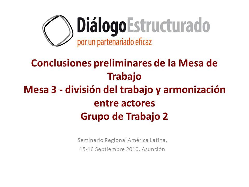 Conclusiones preliminares de la Mesa de Trabajo Mesa 3 - división del trabajo y armonización entre actores Grupo de Trabajo 2 Seminario Regional Améri