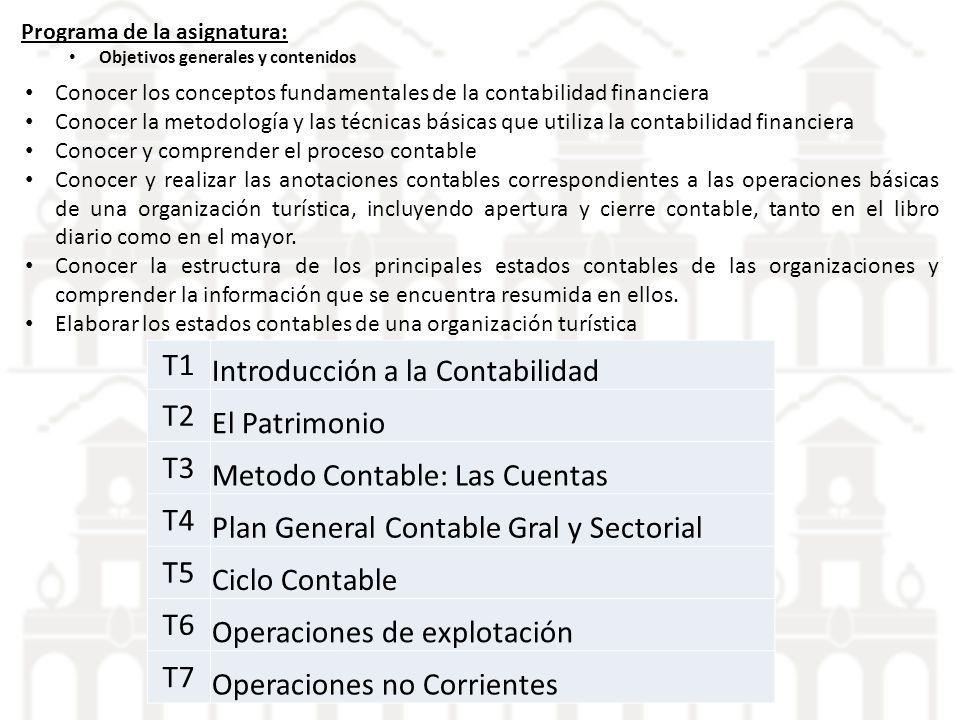 Programa de la asignatura: Objetivos generales y contenidos Conocer los conceptos fundamentales de la contabilidad financiera Conocer la metodología y