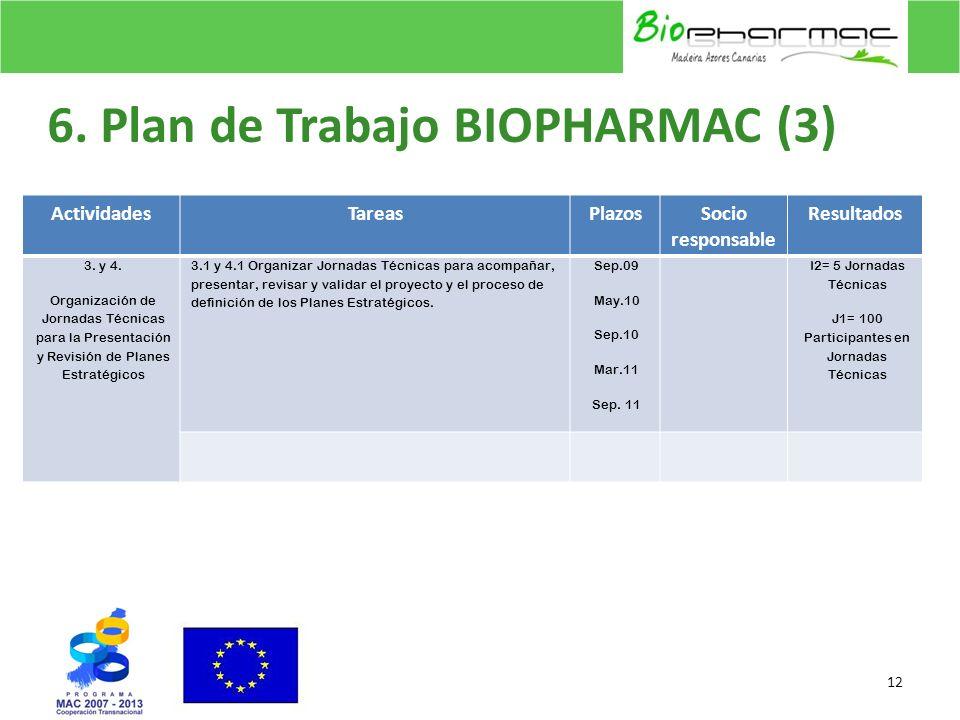 6. Plan de Trabajo BIOPHARMAC (3) 12 ActividadesTareasPlazosSocio responsable Resultados 3. y 4. Organización de Jornadas Técnicas para la Presentació