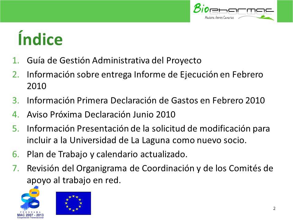Índice 1.Guía de Gestión Administrativa del Proyecto 2.Información sobre entrega Informe de Ejecución en Febrero 2010 3.Información Primera Declaració