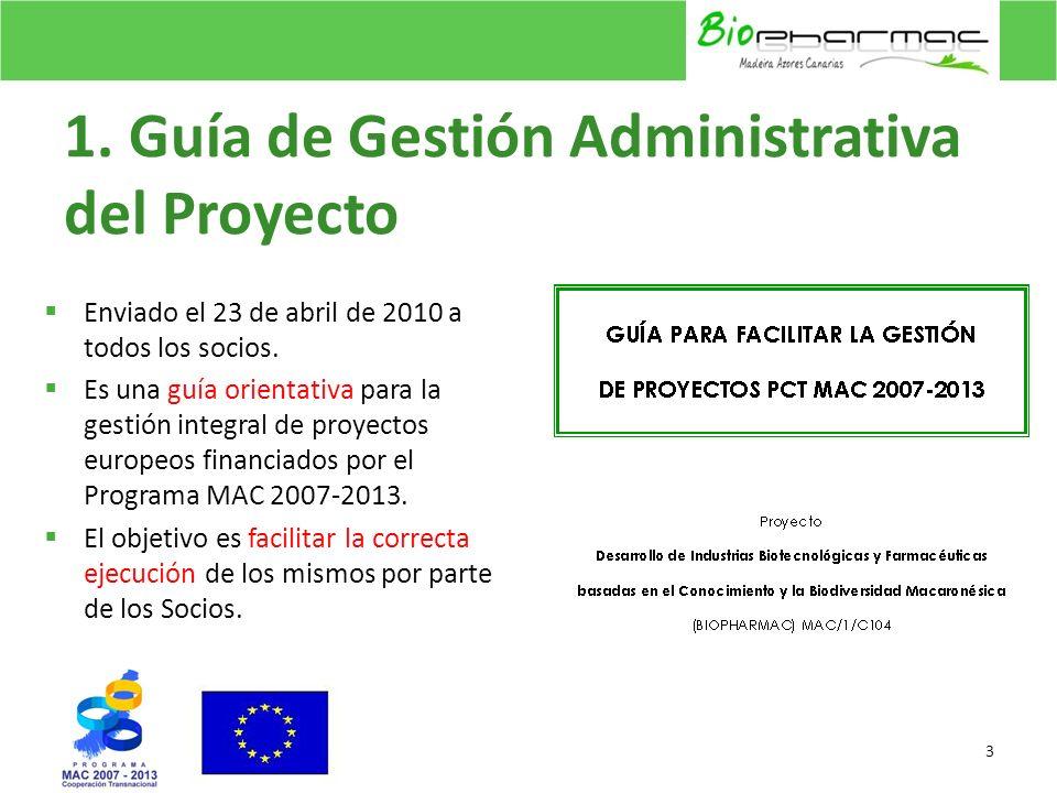 1. Guía de Gestión Administrativa del Proyecto Enviado el 23 de abril de 2010 a todos los socios. Es una guía orientativa para la gestión integral de