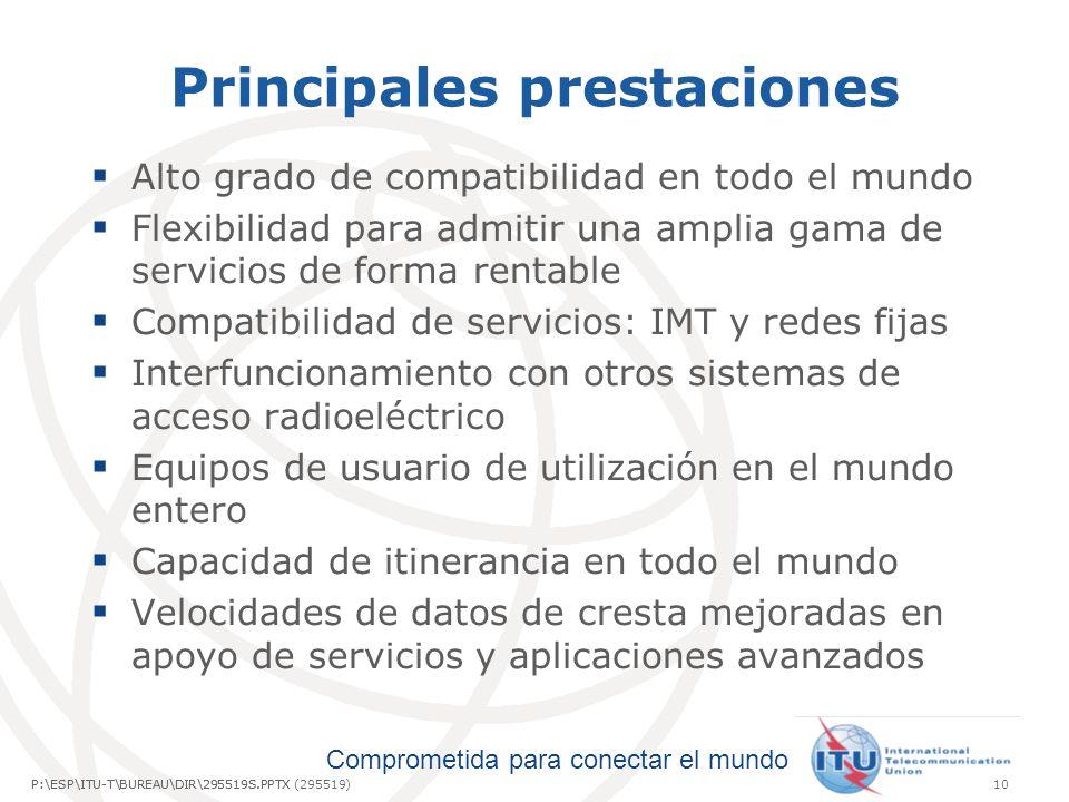 Comprometida para conectar el mundo P:\ESP\ITU-T\BUREAU\DIR\295519S.PPTX10P:\ESP\ITU-T\BUREAU\DIR\295519S.PPTX (295519) Principales prestaciones Alto grado de compatibilidad en todo el mundo Flexibilidad para admitir una amplia gama de servicios de forma rentable Compatibilidad de servicios: IMT y redes fijas Interfuncionamiento con otros sistemas de acceso radioeléctrico Equipos de usuario de utilización en el mundo entero Capacidad de itinerancia en todo el mundo Velocidades de datos de cresta mejoradas en apoyo de servicios y aplicaciones avanzados