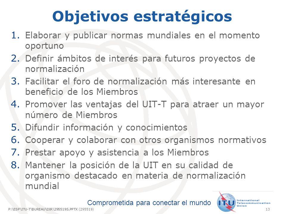 Comprometida para conectar el mundo P:\ESP\ITU-T\BUREAU\DIR\295519S.PPTX13P:\ESP\ITU-T\BUREAU\DIR\295519S.PPTX (295519) Objetivos estratégicos 1.