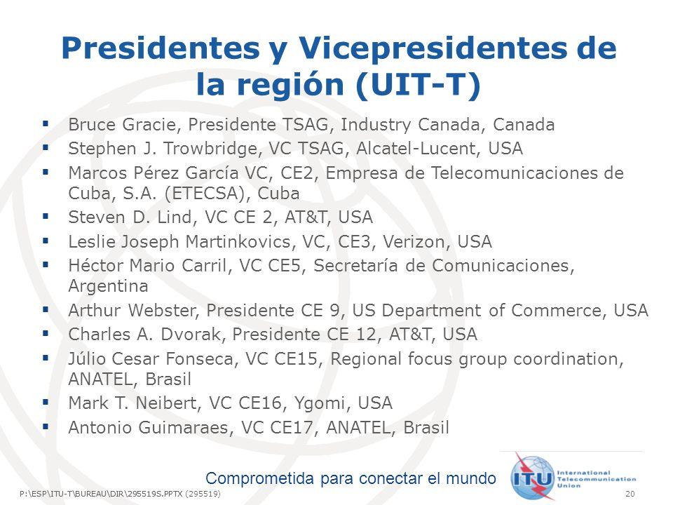 Comprometida para conectar el mundo P:\ESP\ITU-T\BUREAU\DIR\295519S.PPTX20P:\ESP\ITU-T\BUREAU\DIR\295519S.PPTX (295519) Presidentes y Vicepresidentes de la región (UIT-T) Bruce Gracie, Presidente TSAG, Industry Canada, Canada Stephen J.