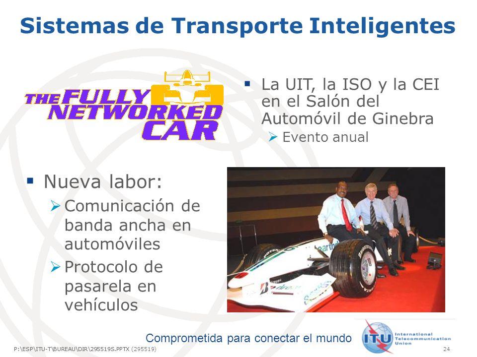 Comprometida para conectar el mundo P:\ESP\ITU-T\BUREAU\DIR\295519S.PPTX24P:\ESP\ITU-T\BUREAU\DIR\295519S.PPTX (295519) Sistemas de Transporte Inteligentes La UIT, la ISO y la CEI en el Salón del Automóvil de Ginebra Evento anual Nueva labor: Comunicación de banda ancha en automóviles Protocolo de pasarela en vehículos