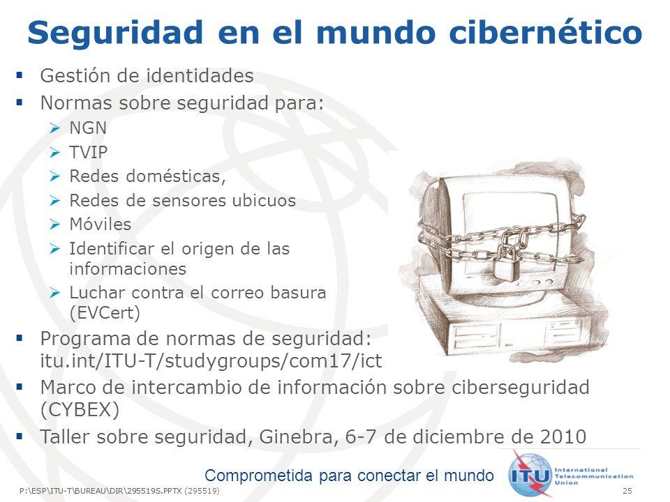 Comprometida para conectar el mundo P:\ESP\ITU-T\BUREAU\DIR\295519S.PPTX25P:\ESP\ITU-T\BUREAU\DIR\295519S.PPTX (295519) Seguridad en el mundo cibernético Gestión de identidades Normas sobre seguridad para: NGN TVIP Redes domésticas, Redes de sensores ubicuos Móviles Identificar el origen de las informaciones Luchar contra el correo basura (EVCert) Programa de normas de seguridad: itu.int/ITU-T/studygroups/com17/ict Marco de intercambio de información sobre ciberseguridad (CYBEX) Taller sobre seguridad, Ginebra, 6-7 de diciembre de 2010