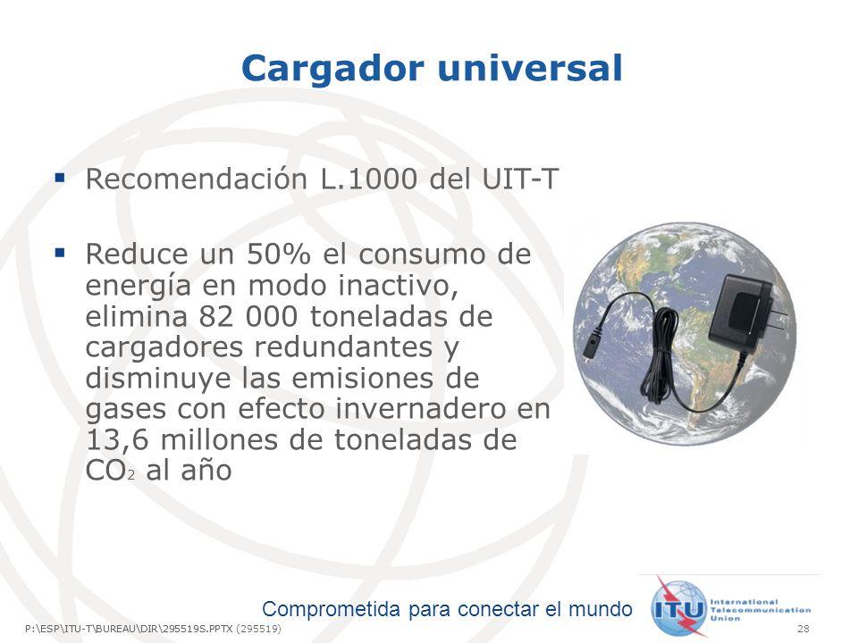 Comprometida para conectar el mundo P:\ESP\ITU-T\BUREAU\DIR\295519S.PPTX28P:\ESP\ITU-T\BUREAU\DIR\295519S.PPTX (295519) Cargador universal Recomendación L.1000 del UIT-T Reduce un 50% el consumo de energía en modo inactivo, elimina 82 000 toneladas de cargadores redundantes y disminuye las emisiones de gases con efecto invernadero en 13,6 millones de toneladas de CO 2 al año