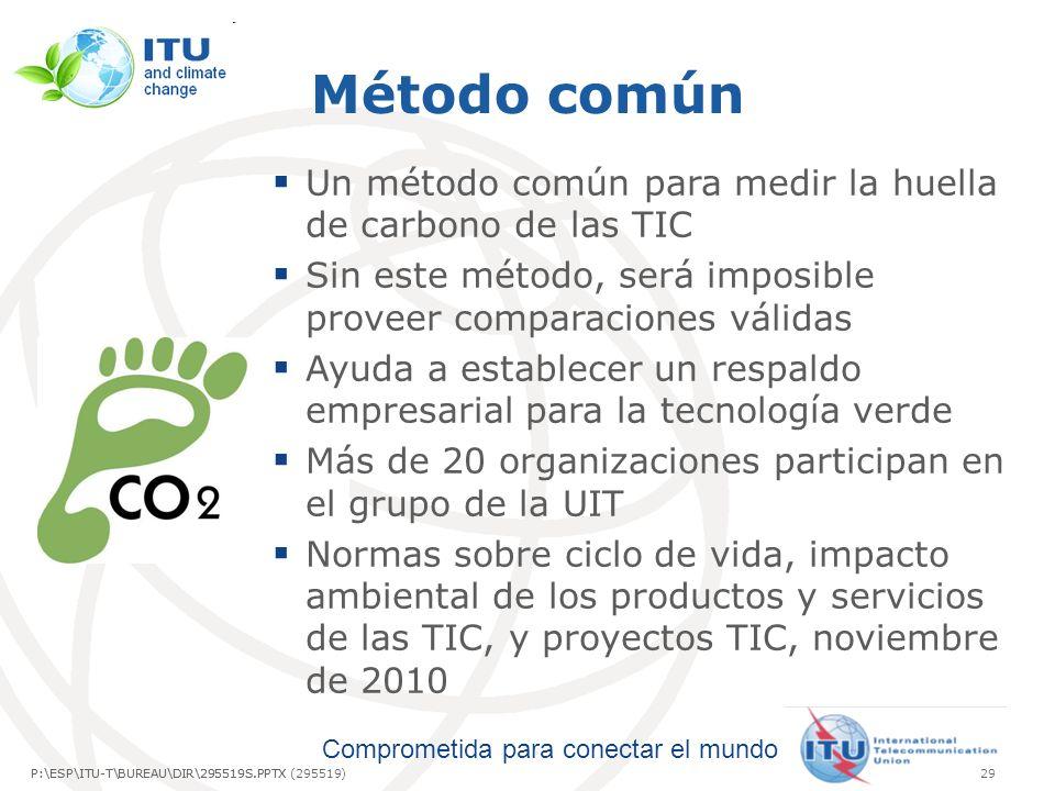Comprometida para conectar el mundo P:\ESP\ITU-T\BUREAU\DIR\295519S.PPTX29P:\ESP\ITU-T\BUREAU\DIR\295519S.PPTX (295519) Método común Un método común para medir la huella de carbono de las TIC Sin este método, será imposible proveer comparaciones válidas Ayuda a establecer un respaldo empresarial para la tecnología verde Más de 20 organizaciones participan en el grupo de la UIT Normas sobre ciclo de vida, impacto ambiental de los productos y servicios de las TIC, y proyectos TIC, noviembre de 2010