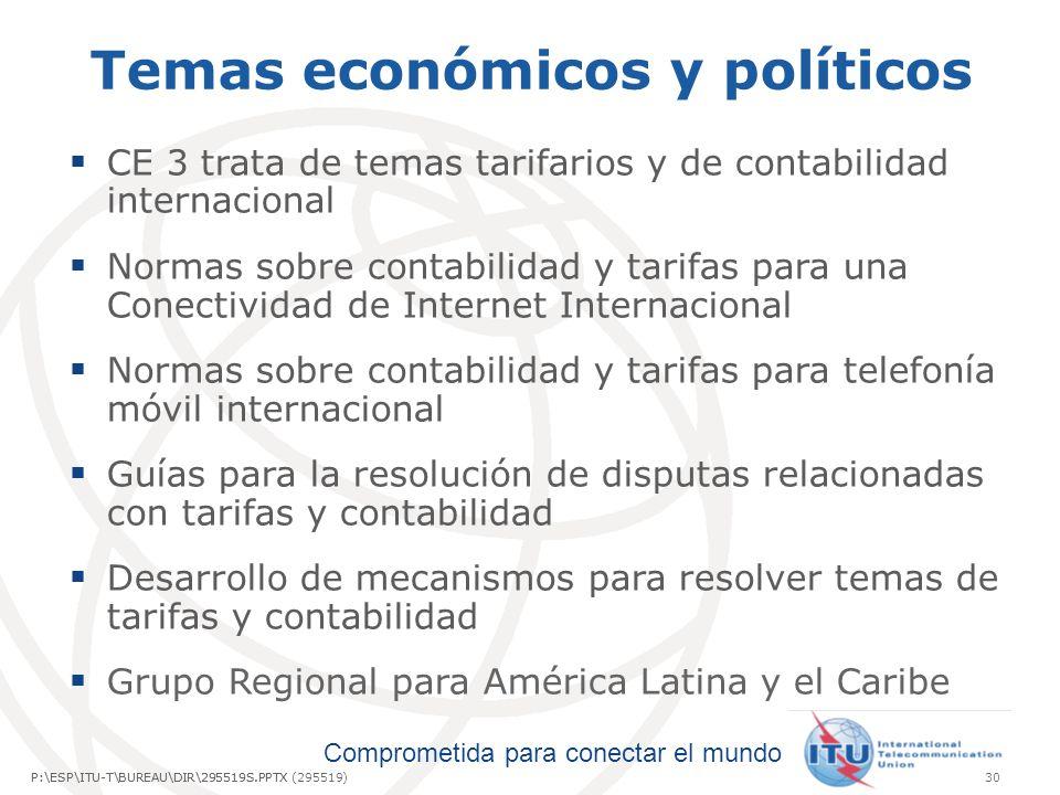 Comprometida para conectar el mundo P:\ESP\ITU-T\BUREAU\DIR\295519S.PPTX30P:\ESP\ITU-T\BUREAU\DIR\295519S.PPTX (295519) Temas económicos y políticos C