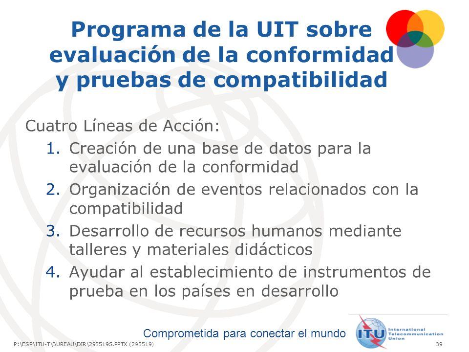 Comprometida para conectar el mundo P:\ESP\ITU-T\BUREAU\DIR\295519S.PPTX39P:\ESP\ITU-T\BUREAU\DIR\295519S.PPTX (295519) Programa de la UIT sobre evaluación de la conformidad y pruebas de compatibilidad Cuatro Líneas de Acción: 1.Creación de una base de datos para la evaluación de la conformidad 2.Organización de eventos relacionados con la compatibilidad 3.Desarrollo de recursos humanos mediante talleres y materiales didácticos 4.Ayudar al establecimiento de instrumentos de prueba en los países en desarrollo