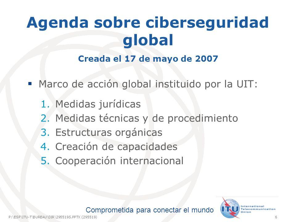 International Telecommunication Union Comprometida para conectar el mundo P:\ESP\ITU-T\BUREAU\DIR\295519S.PPTX (295519)6 Agenda sobre ciberseguridad g