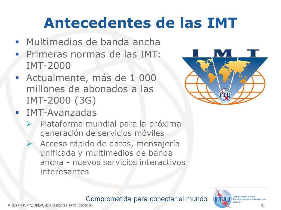 Comprometida para conectar el mundo P:\ESP\ITU-T\BUREAU\DIR\295519S.PPTX9P:\ESP\ITU-T\BUREAU\DIR\295519S.PPTX (295519) ¿Qué son las IMT-Avanzadas.