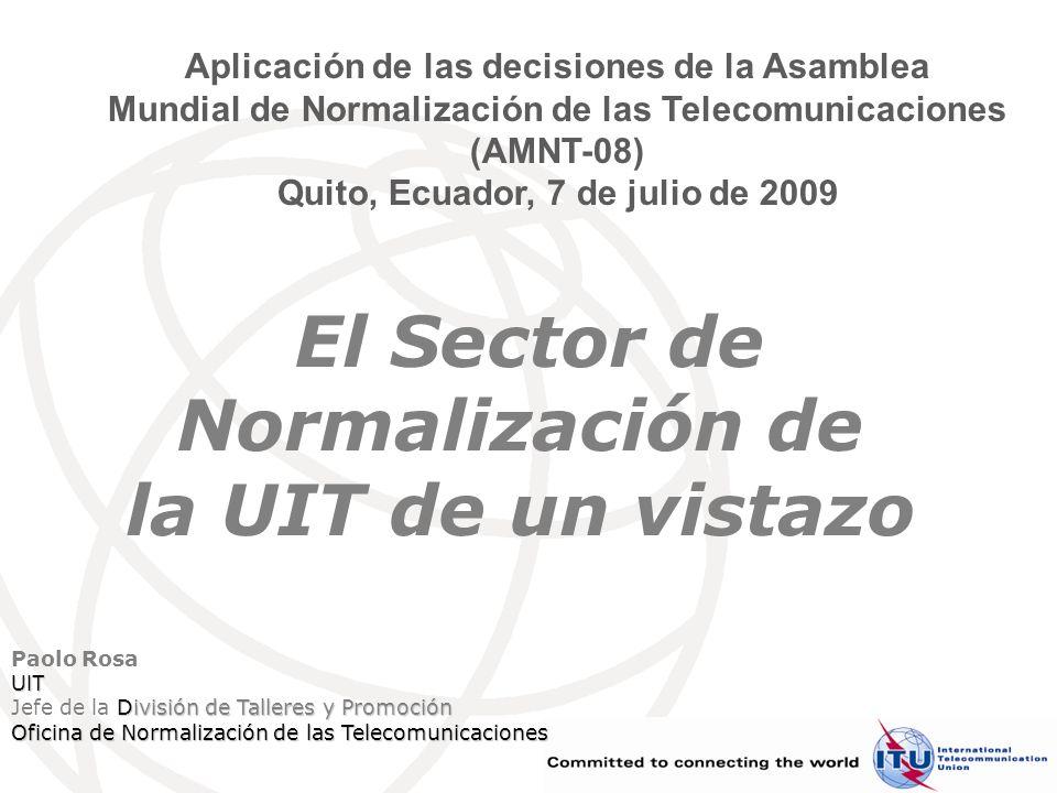 Forum Quito, 7 de julio de 2009 Página 12 (273260) 12 Resumen de las cuestiones de las CE Estructura y presidencia de las CE: 10 CE (más el GANT), 7 (8) nuevos presidentes Cuestiones estratégicas a tratar, por ejemplo: –Reducción de la disparidad en materia de normalización –Las TIC y el cambio climático –Accesibilidad de las Telecomunicaciones/TIC –Estudios relacionados con Internet –Cibersecuridad Identificación de tecnologías incipentes para su normalización –Función de supervisión de la tecnología del UIT-T –Aumento de la participación del mundo académico –Aumento de la participación de institutos de investigación Medidas para aumentar la participación –Incentivos para aumentar el número de Miembros de Sector y Asociados –Aumentar la representación del mundo académico y los institutos de I+D –Fomentar una mayor participación de los países en desarrollo