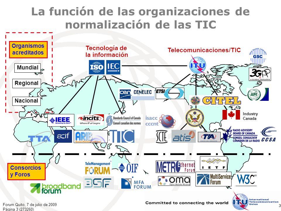 Forum Quito, 7 de julio de 2009 Página 14 (273260) 14 Otras funciones/grupos/actividades Talleres/Seminarios Tratar los temas más importantes en la tecnología y aplicaciones de telecomunicaciones modernasTalleres/Seminarios Los oradores son expertos célebres en telecomunicaciones Por lo general gratuitos y abiertos al público Proyectos especiales del UIT-T Estudio de un tema importante, que comprende multiples Cuestiones de una o varias CE: por ejemplo, gestión de proyectos de NGN, Plan de normas de seguridad en las TIC Supervisión de la tecnología Estudiar el entorno de las TIC, en relación con las nuevas/incipientes tecnologías y las tendencias del mercado con el fin de detectar los nuevos temas que requieren normalización