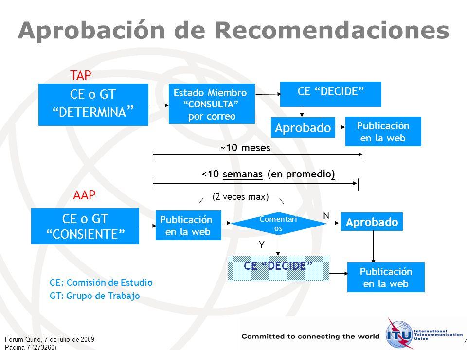 Forum Quito, 7 de julio de 2009 Página 8 (273260) 8 Entorno dinámico Determinación de las tecnologías futuras Organización de reuniones de las CE, GT y de Relator, y de talleres sobre normalización en todo el mundo para lograr la participación de un mayor número de expertos de las regiones que colaboren también en la creación de Grupos Faro y Regionales Mayores oportunidades de crear Grupos temáticos sobre asuntos novedosos y urgentes para el mercado y sobre nuevos temas Creación de un entorno GSI para permitir la colaboración en los trabajos sobre un mismo tema y fomentar la ósmosis entre las Comisiones de Estudio expertas Mayor divulgación de información, comunicación y promoción, adopción de herramientas electrónicas específicas: los faros, seminarios por la web, podcast, noticias electrónicas de última hora, Youtube, prensa, eventos… Investigación de las normas del futuro en cooperación con el mundo académico y las instituciones de I+D