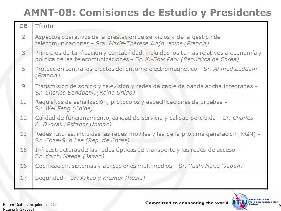 Forum Quito, 7 de julio de 2009 Página 20 (273260) 20 El futuro ¡El UIT-T está preparado!