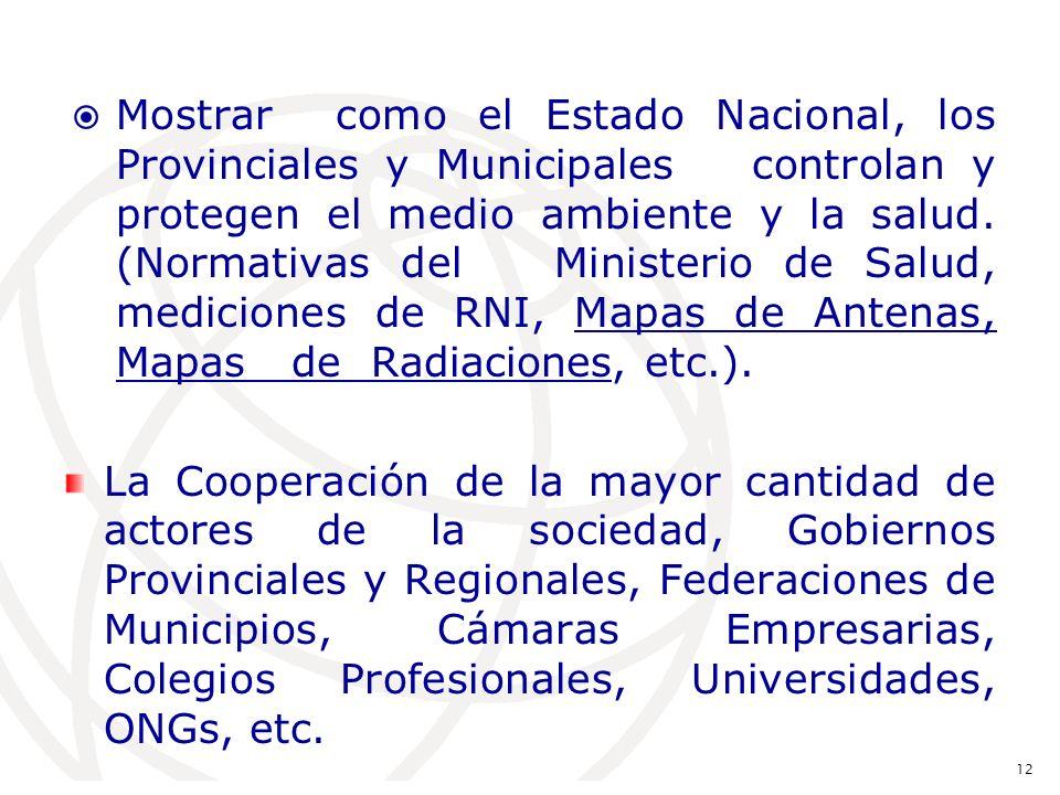 Mostrar como el Estado Nacional, los Provinciales y Municipales controlan y protegen el medio ambiente y la salud.