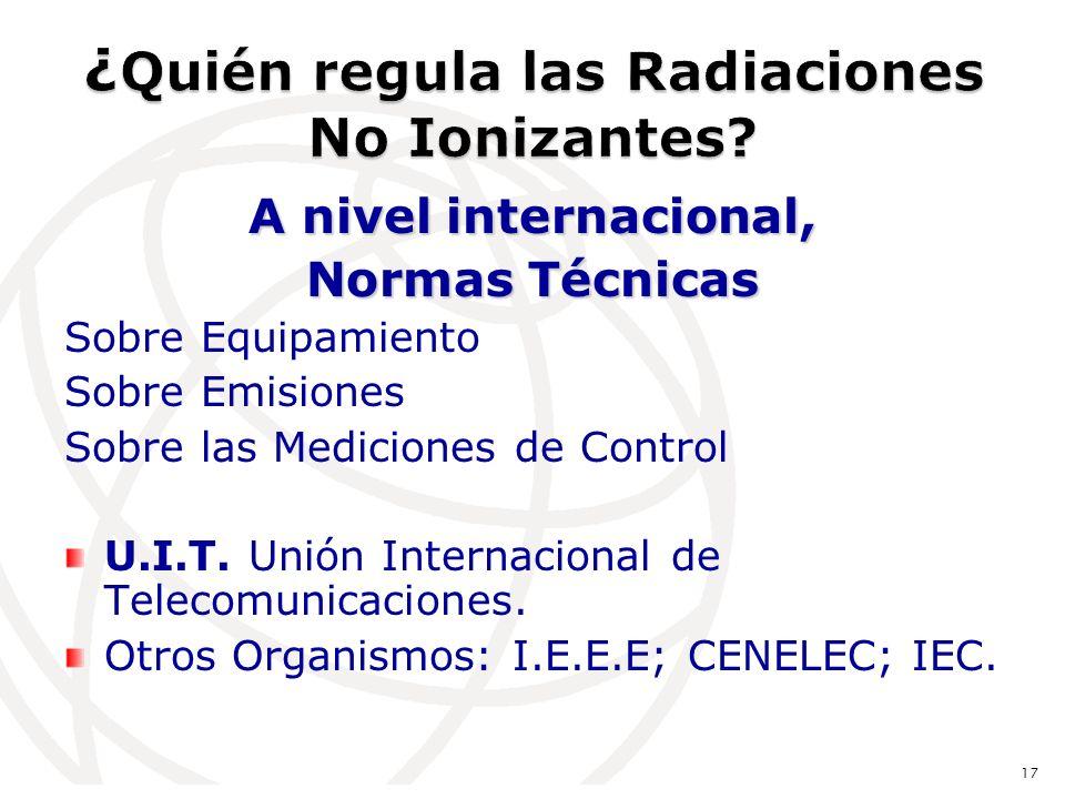 A nivel internacional, Normas Técnicas Sobre Equipamiento Sobre Emisiones Sobre las Mediciones de Control U.I.T.