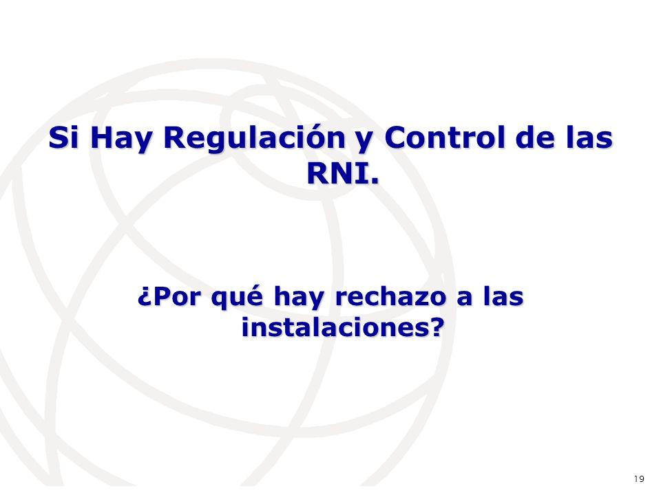 Si Hay Regulación y Control de las RNI. ¿Por qué hay rechazo a las instalaciones 19