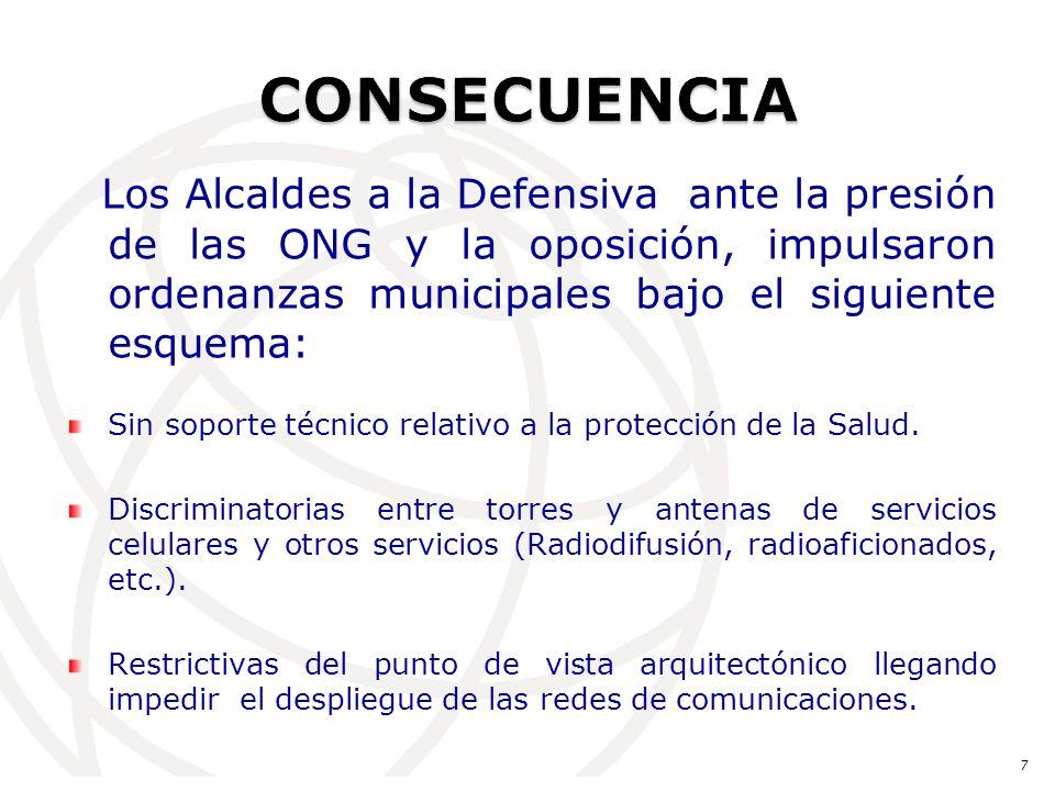 Los Alcaldes a la Defensiva ante la presión de las ONG y la oposición, impulsaron ordenanzas municipales bajo el siguiente esquema: Sin soporte técnico relativo a la protección de la Salud.
